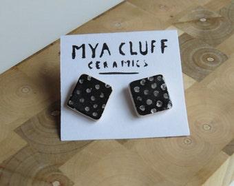 Black and White Ceramic Earring - Polka Dot