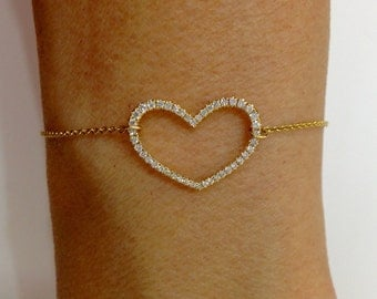 Yellow Gold Diamond Heart Shaped Bracelet Chain - 18K Gold 6-7 inch