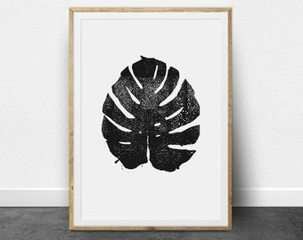Tropical Leaf, Tropical Print, Printable Instant Download, Tropical Wall Decor, Black and White, Linocut, Monstera Leaf, Botanical Decor