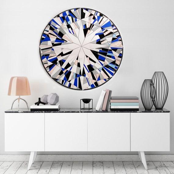 Round Mosaic Wall Decor : Blue wall mirror round art mosaic large