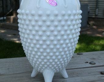Fenton Hobnail Milk Glass 3-Toed Vase