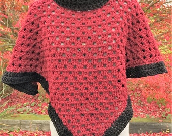 Claret Red and Black turtleneck poncho