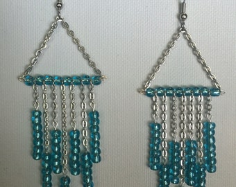 Blue Seed Bead Trapeze Earrings - Teal Beaded Earrings - Blue Seed Bead Earrings