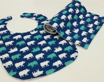 Ready To Post - Bamboo Bib and Burp Cloth Gift Set - Rhino Teal