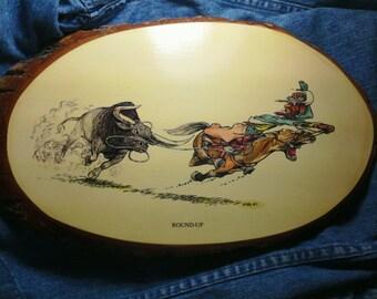 "7- Vintage ""McCaulley Did It"" Cowboy Wooden Plaques"