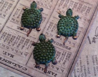 NEW! Verdigris brass turtle charms 4 PC