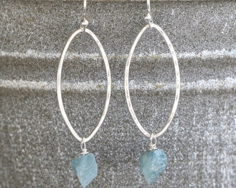 Hoop Earrings Aquamarine Earrings March Birthstone Gemstone Earrings