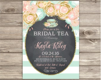 bridal shower tea party invitations vintage digital prinable pink and gold flowers rustic mint peach coral