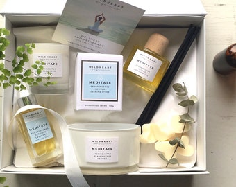 Meditate Luxury Organic Soy Aromatherapy Candle and Wellness gift box