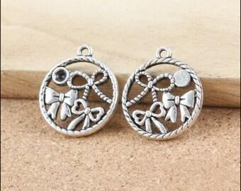 100pcs 22x19mm antique bronze bowknot pendants bowknot charms bows charm pendants LJ0105