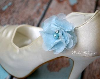 Light Blue Chiffon Flower Shoe Clips | Pearl Rhinestone | Wedding Bridal Something Blue | Shoe Flowers | Bridal Bridesmaid Gifts
