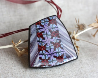 Pendant with epoxy. Gift for her. Pendant from the polymer clay and epoxy resin. Colorful pendant