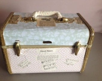 Train Case with Vintage Sheet Music