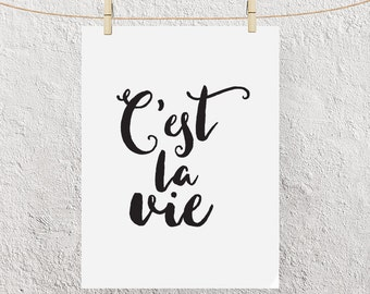 """Typography Calligraphy Script Poster """"C'est La Vie"""" Such Is Life French Quote Motivational Inspirational Print Wall ArtbHome Decor"""