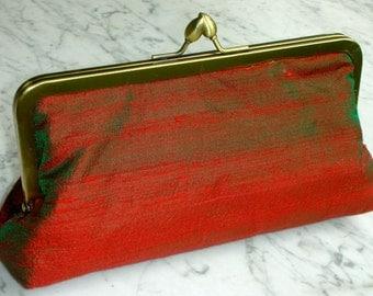 Metal-frame clutch purse Dupioni silk silk green / red evening bag wedding metal frame bridalclutch handbag handbag purse