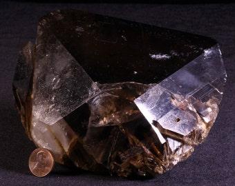 XLARGE 4.3lb Rutilated Smoky Quartz Crystal