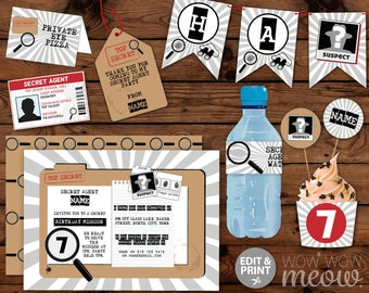 Secret Agent SPY Birthday Party Package Invitations & Decorations Full Printable Collection INSTANT DOWNLOAD Editable Text Personalize @Home