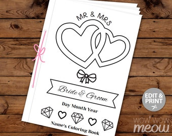 Wedding Coloring Book Kid Activity Colouring Page Children's Booklet Sheet Printable Personalize Kid's 18 Edit Pages Print Color in EDITABLE