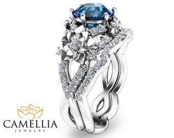 Art Deco Styled Topaz Bridal Set Unique 14K White Gold Engagement Rings London Blue Topaz Wedding Ring Set Floral Ring Set