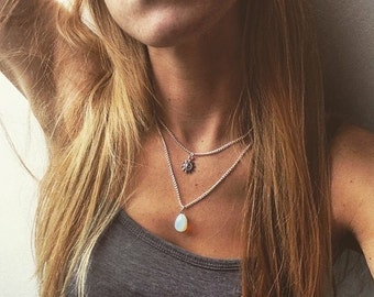 Opalite tear drop crystal necklace, quartz necklace, moonstone necklace style by serenity project.
