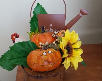 Little Brown Wagon with Pumpkins, corn and sunflowers