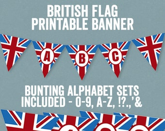 Printable British Bunting, British Banner Alphabet theme party decor, union jack bunting, abc banners, british party theme, instant download