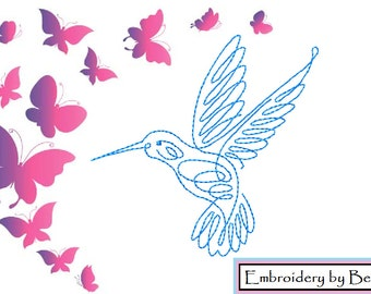Swirly Hummingbird, Machine Embroidery Design, Digital Pattern, Instant Download Embroidery,