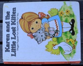 Vintage 1982 Hardback Children's Finger Puppet Karen and The Little Lost Kitten Book by Peter Seymour