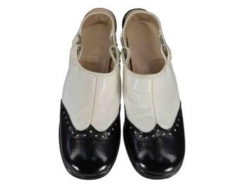 Vintage Shoes, 1960s Shoes, 60s Mod Shoes, Black & White Women's Wingtip Shoes, Slingback Mules, Platform Wingtip Mules, Women's Size 6