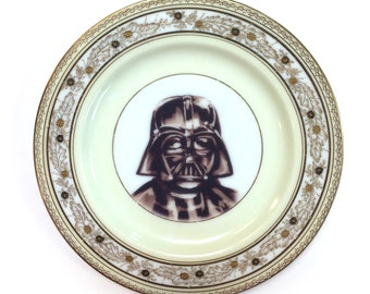 Vintage - Illustrated - Darth Vader -  Geek - Plate - Upcycled - Wall Display - China - Gold - Altered - Antique Plate