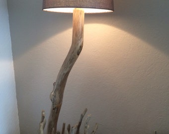 Large driftwood lamp. Oak base, driftwood stem and pieces. 78 cms