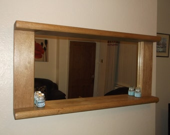 Large chunky solid wood mirror with shelf, reclaimed, recycled, wall hanging 120 x 59 cms