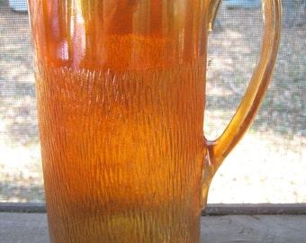Carnival Glass Pitcher, Flaming Tree Bark Design, Iridescent Marigold Color, Vintage 1930s, Imperial Glass Co., Starburst Bottom, 1 1/2 Qt.