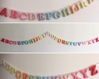 Alphabet Banner-Felt Garland-Alphabet Garland- Nursery Decoration- Play room Decoration-Felt Letters