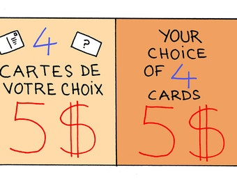 4 postcards of your choice / / Your choice of 4 postcards