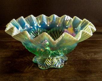 Vintage Fenton Carnival Glass Ruffled Edge Bowl Aqua