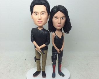 Walking Dead Fans Personalized Gift Bobble Head Clay Figurines Based on Customer' Photos Birthday Wedding Cake Topper Husband Boyfriend Gift