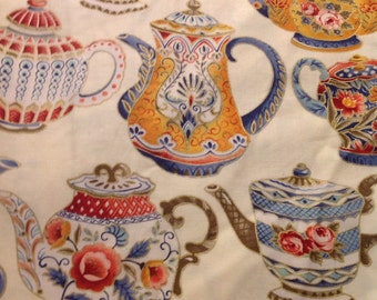 1 yd Teapots by Timeless Treasures fabric