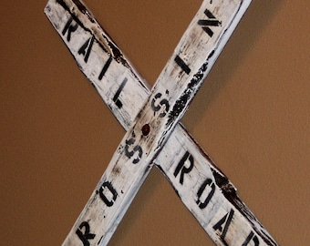 Rustic Railroad Crossing Sign
