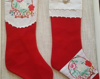 pair of red christmas stockings family stockings holiday stockings retro stockings retro