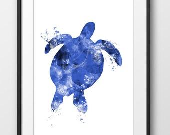 Sea Turtle Watercolor Blue Print No2, Nautical Turtle Painting, Turtle Art, Animal Watercolor, Sea Life Print, Turtle Wall Art (No A0326)