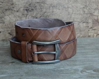 Leather Belt , Mens Belt ,  Heavy Duty Belt , Distressed Rugged Cowskin Belt , Brown , Unique