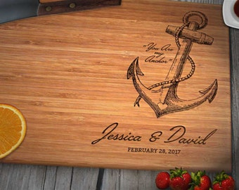 Personalized Engraved Bamboo Anchor Cutting Board, Couples Names Date Wedding Anniversary Engagement Gift, Caramel or Natural // Custom Gift