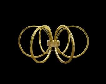 Vintage Mid Century Modern Hollywood Regency 6 Brass Ring Coffee Table Base