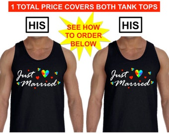 GAY SHIRT Wedding Gift His and His Just Married Pride T shirt