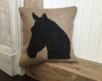 horse head burlap pillow rustic decor decorative pillow - Horses Head Pillow