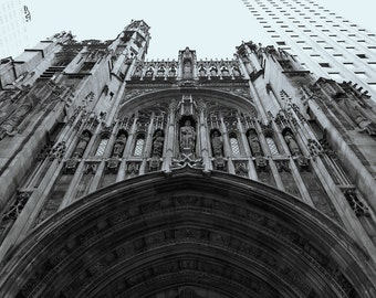 Black and white photograph of a New York Church