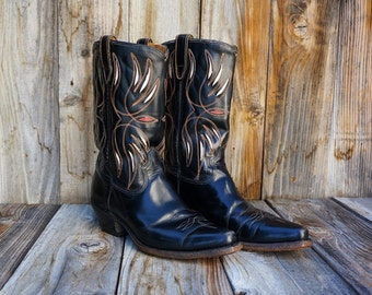 Vintage Acme Cowgirl Boots, 1960s Black Leather Boots with Red and White Inlays, Women's size 9.5