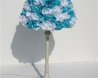 Ruffle lampshade, shabby chic lampshade, white and turquoise lampshade, lampshade, table lamp, white table lamp, glamorous table lamp.
