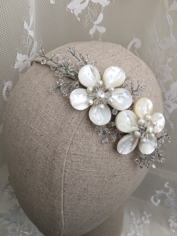 Real Flower Bridal Hair Accessories : Beautifully handcrafted real mother of pearl flower bridal